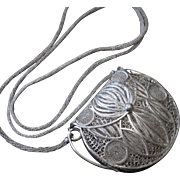 Gorgeous Old 925 Sterling Filigree Coin or Dance Purse - Heavy 109 Grams!