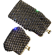 Rare and Stunning Walborg West German Hand Made Set - Eyeglass Case and Coin Purse - BLACK!