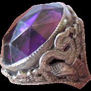 Art Nouveau Sterling Silver Purple Amethyst Paste Snake Ring
