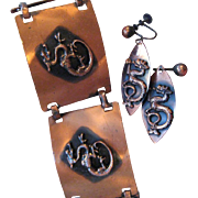 Mid-Century Mod Copper Bracelet and Earrings - Dragon Motif