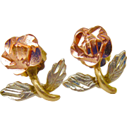 10K Tri-Color Rosette earrings - Rose, White and Yellow Gold - Hand made