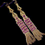 Shoulder Duster Purple Paste Fabulous True Flapper Earrings!
