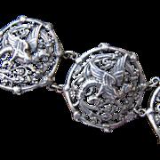 Art Nouveau Sterling Dragon Griffin Bracelet - Gorgeous!