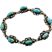 Beautiful Antique Austro-Hungarian Sterling Silver Turquoise Bracelet