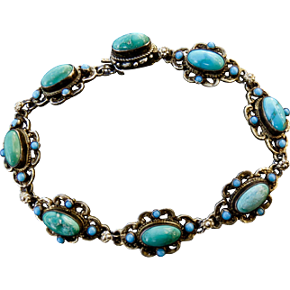 Beautiful Antique Austro-Hungarian Silver Turquoise Bracelet