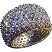 Sterling CZ Crystal Cigar Band Pave Anniversary Ring