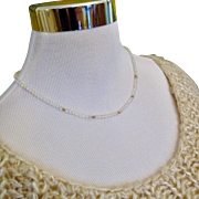 14k Gold and Swarovski Crystal Necklace - Tin Cup Style - Vintage 80s!