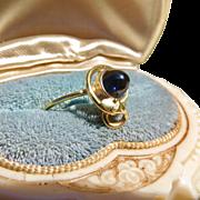 Art Nouveau 18k Gold Sapphire Cabochon Snake Ring