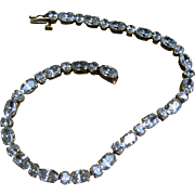 14k Gold Unusual CZ Tennis Bracelet - Oval and Round Stones - HOLIDAY SPECIAL