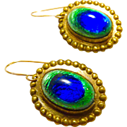 Art Nouveau Peacock Eye Earrings - 14K Earwires