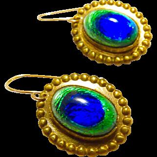 Art Nouveau Peacock Eye Earrings - 14K Earwires