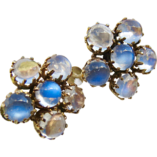 Antique 9CT Gold Moonstone Cluster Earrings