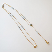 Mint 14k Gold Art Nouveau Steel Blue Guilloche Enamel Station Watch Chain Necklace or Lorgnette Chain