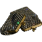 Scarce NOS Walborg West German Hand Made Set - Rhinestone Eyeglass Case and Matching Rhinestone Coin Purse - BLACK!