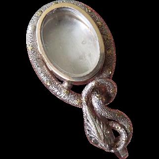 Rare Victorian Snake Memento Mourning Locket - Silver & Gold