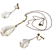 Art Deco Czech Glass Necklace and Matching Dangle Earrings - Free First Class Shipping within the US!