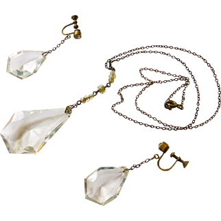 Art Deco Czech Glass Necklace and Matching Dangle Earrings