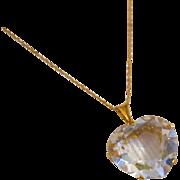 14k Gold Filigree Rock Crystal Heart - 60 Carats!