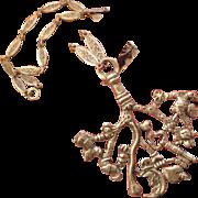 Rare 800 Silver Italy Cimaruta Pendant Necklace - Strega Good Luck Talisman!