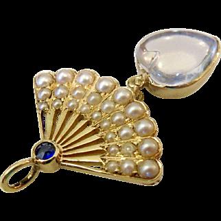 15CT Moonstone Seed Pearl Sapphire Fan Heart Pendant