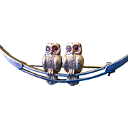 Victorian Gold Filled Moon and Ruby Eyed Twin Owl Pin