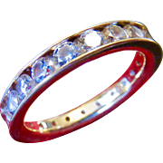 14k Gold CZ Round Full Eternity band - Comfort Fit - Size 7