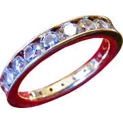 14k Gold CZ Round Full Eternity band - Size 7
