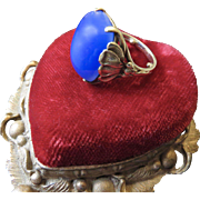 Art Nouveau 14K Gold Blue Chalcedony Cabochon Ring - Water Lilies
