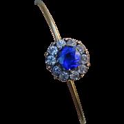 Rare Antique Saphire Paste Halo Bracelet Bangle
