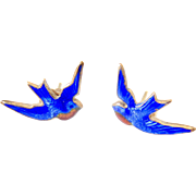 Rare Art Nouveau 10k Gold Enamel Blue Bird Earrings