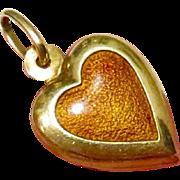 Rare Art Nouveau 14k Gold Orange Enamel Guilloche Double Sided Puffy Heart Charm Pendant