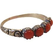 Antique Georgian Natural Red Coral Ring - Gold and Silver