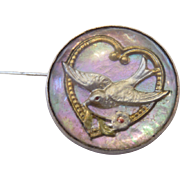 Victorian Essex Crystal Swallow Sweetheart Pin