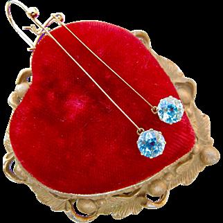 Fabulous Art Deco Genuine Blue Zircon Drop Earrings