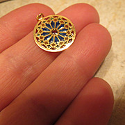18k Gold Plique a Jour Stained Glass Window Enamel Pendant or Charm