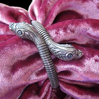 Rare Antique Sterling Double Headed Snake Bracelet