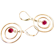 10k Gold Ruby Multi-Hoop Earrings