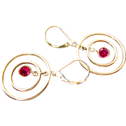 10k Gold Synthetic Ruby Multi-Hoop Earrings