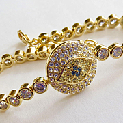Contemporary Joan Boyce Gold  Evil Eye Protection Talisman Bracelet