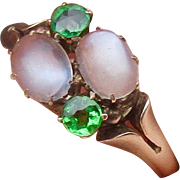 Antique 10K Gold Moonstone and Green Garnet Ring