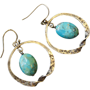 Retired Sterling Silpada Turquoise Hoops
