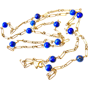 """Art Deco 18k Gold Fancy Link Long Station Necklace with Lapis Lazuli Beads 27"""""""