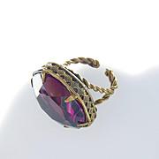 Huge Art Nouveau Czech Amethyst Purple Paste Ring