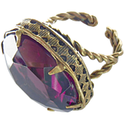 Huge Art Nouveau Czech Amethyst Purple Paste Ring