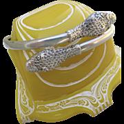 Antique Art Nouveau Sterling Double Headed Snake Bracelet
