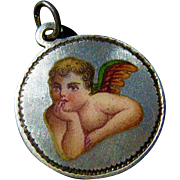 1898 Memento Charm with Fine Enameling Cherub or Raphael's Angel - Engraved and Dated Charm