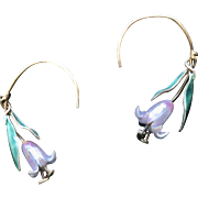 """Chinese Export Sterling Enamel Flower Drop Earrings 1.25"""""""