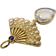 15K Gold Moonstone Heart Seed Pearl Sapphire Fan Pendant with 14k Gold Beaded Chain 20""