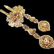 Antique 10k Gold Filigree Cannetille Dangle Earrings