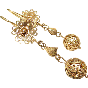 10k Gold Filigree Cannetille Dangle Earrings